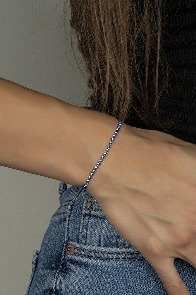 Else Silver Mavi Renkli Gümüş Toplu Bayan Bilekliği