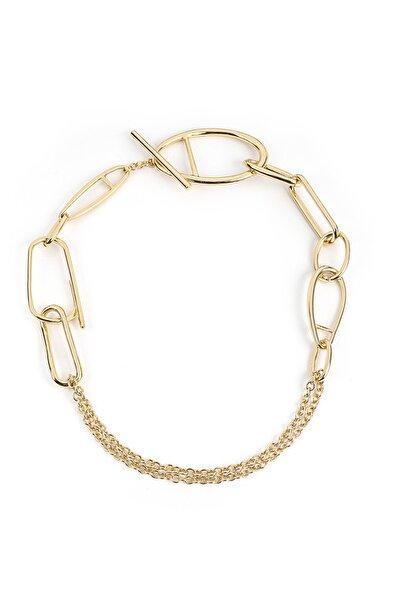 İpekyol Kadın Metalik Zincir Form Yaka Kolye  IW6200051009