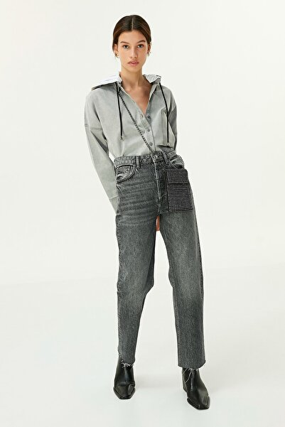 Twist Kadın Gri Kapüşonlu Gömlek  TW6200025073