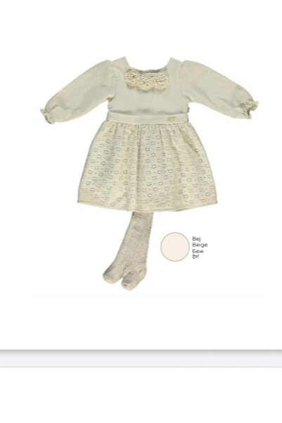 Bebetto Kız Çocuk Dokuma Dantelli 2'li Elbise