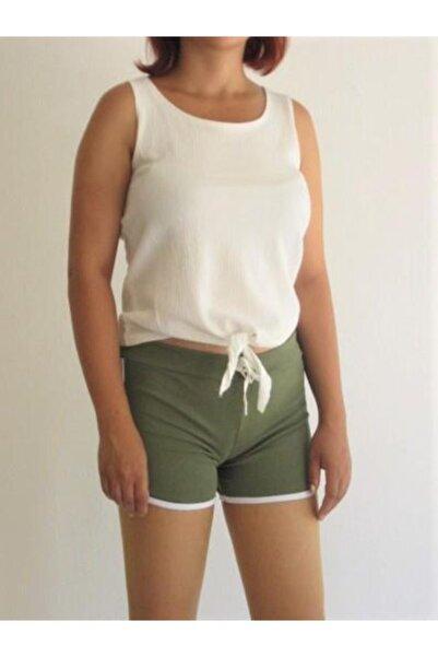 Zirve Kadın Koyu Yeşil Renkli Penye Şort