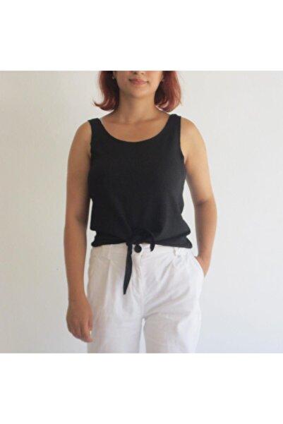 Zirve Kadın Siyah Renkli Önden Bağlamalı Krinkıl Bluz