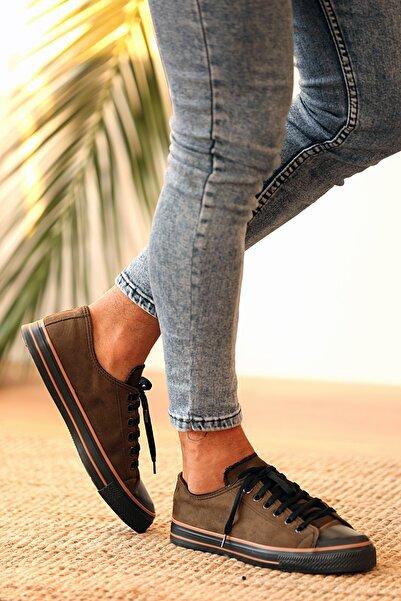 Pembe Potin Erkek Haki Bağcıklı Süet Ayakkabı