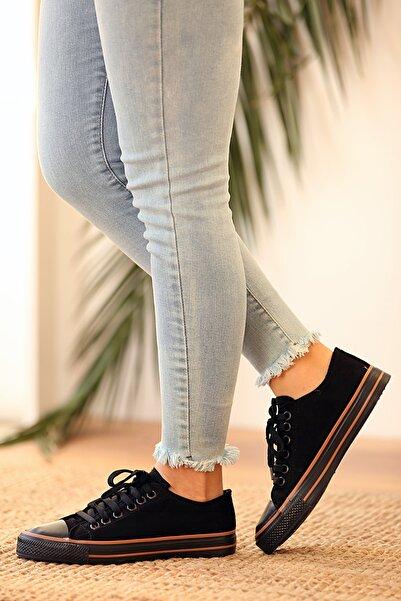 Pembe Potin Kadın Siyah Bağcıklı Süet Ayakkabı