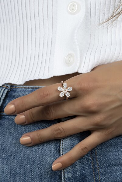 Else Silver Trapez Taşlı Sevdim Çiçeği Gümüş Yüzük