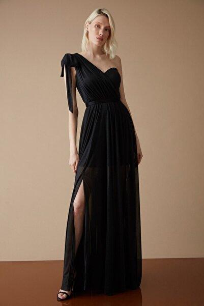 Keikei Kadın Siyah Tül Tek Kol Uzun Elbise