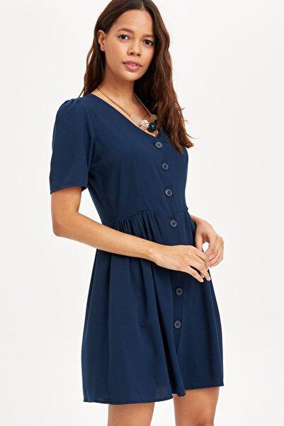 Kadın Lacivert V Yakalı Düğmeli Elbise L0560AZ.19SM.NV167