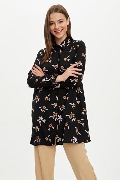 Kadın Modest Siyah Uzun Kollu Gömlek I4379AZ.20SP.BK21