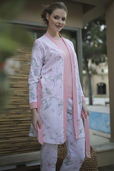 IBIZA Kadın Pembe Sabahlıklı Pijama Takım