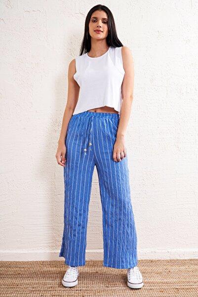 Eka Kadın İndigo Çizgili Lastikli Kemerli Pantolon