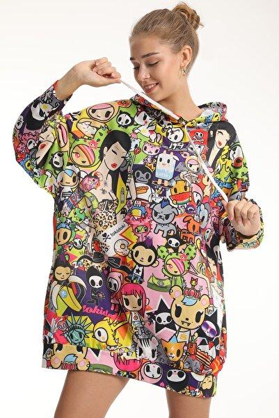 MD trend Kadın Grafik Desenli Oversize Uzun Sweatshirt/batik/m