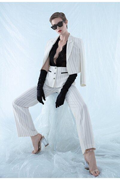 BİRELİN Kadın Beyaz Çizgili Geniş Paça Pantolon