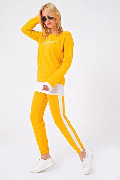 Trend Alaçatı Stili Kadın Hardal Baskılı Alt Üst Eşofman Takım ALC-X4820