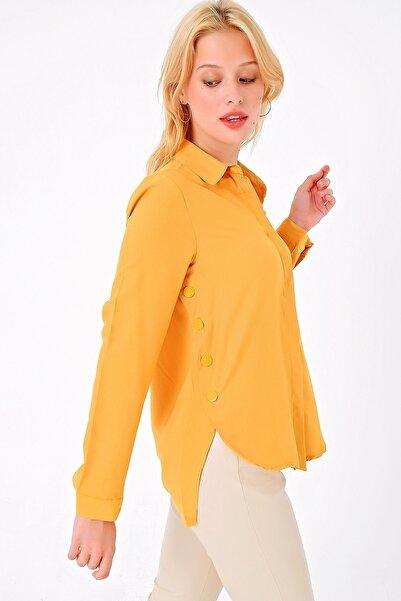 Trend Alaçatı Stili Kadın Hardal Yanı Çıtçıtlı Dokuma Gömlek MDS-174-GML