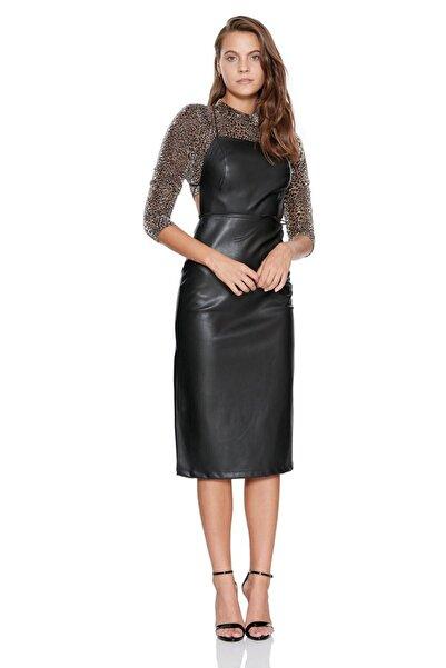 Keikei Kadın Siyah Deri Kolsuz Orta Boy Elbise