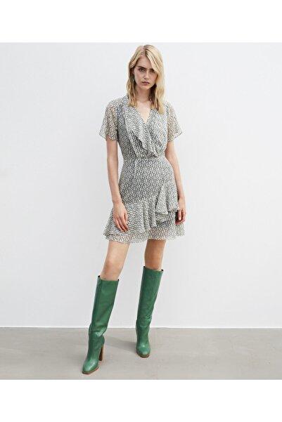 İpekyol Kadın Ekru Fırfır Şeritli Elbise