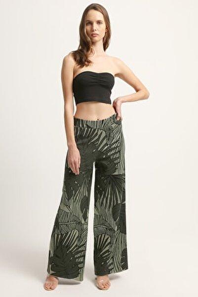Kadın Yaprak Desenli Pantolon 2020S125-YESIL
