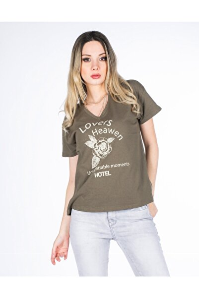 Vision Kadın Haki Baskılı T-shirt