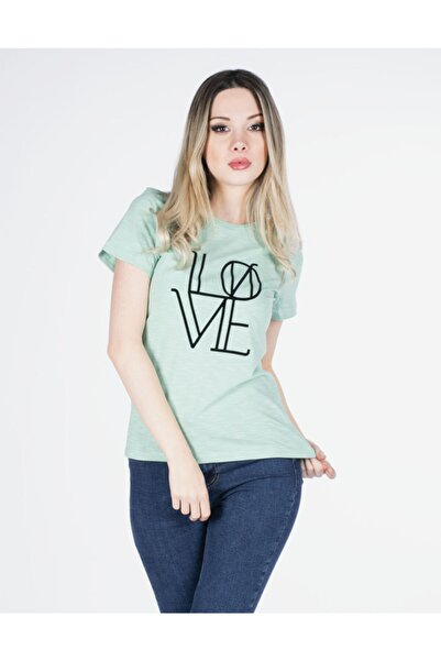 Vision Kadın Su Yeşili Love Baskılı T-shirt
