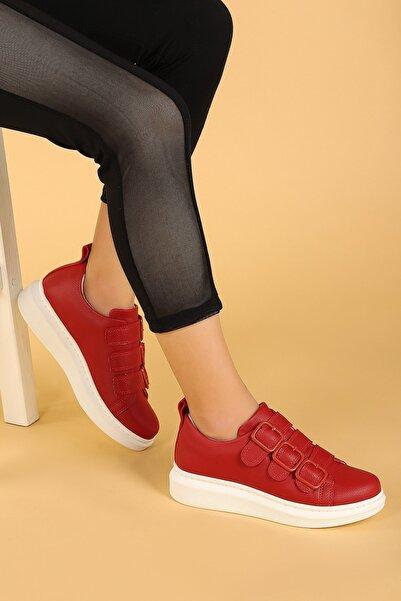 Ayakland Kadın Kırmızı Kemerli Spor Ayakkabı