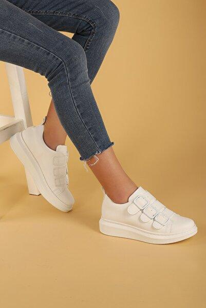 Ayakland Kadın Beyaz Kemerli Spor Ayakkabı
