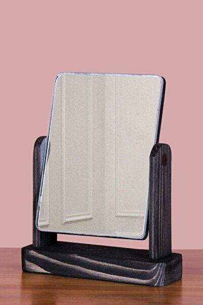 TROYA Masa Üstü Dekoratif Ahşap Makyaj Aynası - Siyah