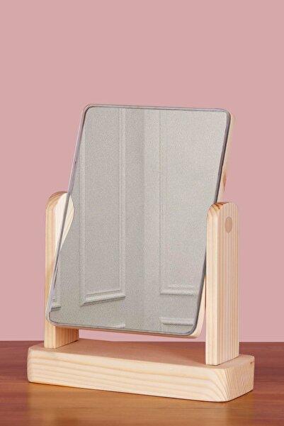 TROYA Masa Üstü Dekoratif Ahşap Makyaj Aynası - Naturel