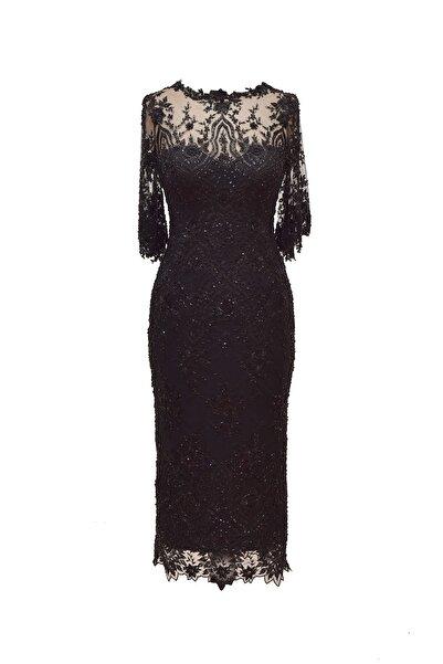 Barrus Kadın Siyah Işlemeli Elbise