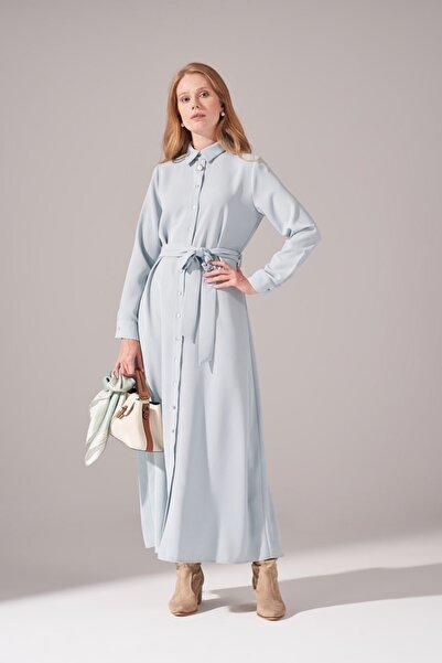 Mizalle Kadın Mint Önden Tam Düğmeli Krep Elbise