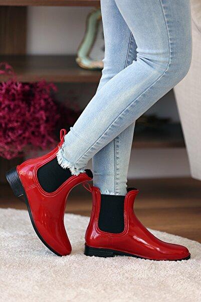 Pembe Potin Kadın Kırmızı Siyah Yağmur Botu