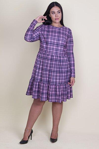 Şans Kadın Lila Ekose Desenli Bel Kısmı Lastikli Etek Ucu Volanlı Elbise 65N18211