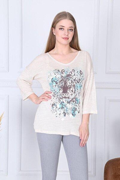 Big Free Kadın Bej Aslan Desen V Yaka Bluz TB21KB459635