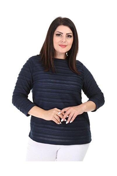 Big Free Kadın Lacivert Lazer Kesim Yarım Kol Bluz TB21KB453011