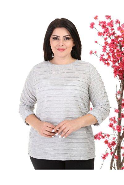 Big Free Kadın Gri Lazer Kesim Yarım Kol Bluz TB21KB453011