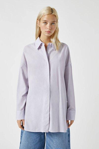 Pull & Bear Kadın Lila Oversize Çizgili Poplin Gömlek 09470384