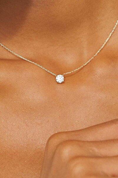 Crystal Diamond Zirconia Kadın Beyaz Işıklı Kutuda Labaratuvar Pırlantası 0.75 Karat Tektaş Kolye