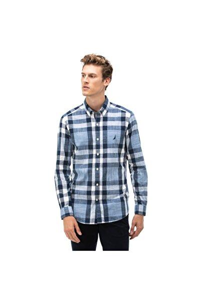 Nautica Nautıca Erkek Lacivert Slım Fıt Ekose Gömlek