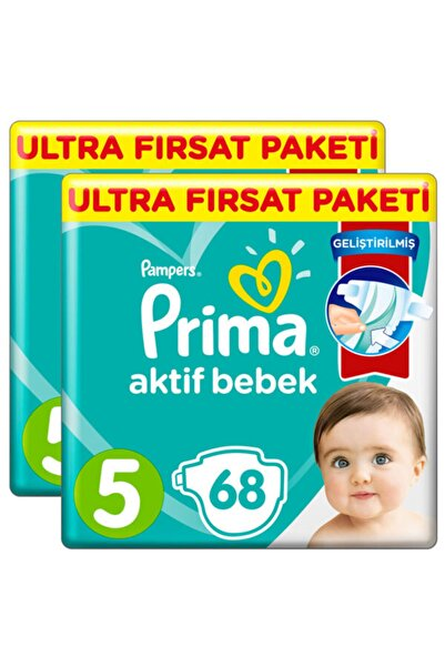 Prima Bebek Bezi Aktif Bebek 5 Beden 136 Adet Ultra Fırsat Paket