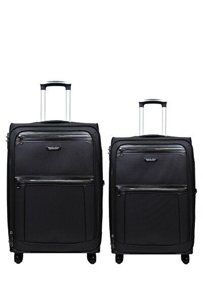 Anka 2'li Valiz Seti Travel Polo Lüx Kumaş Orta Boy Ve Kabin Boy Siyah 2'li Set