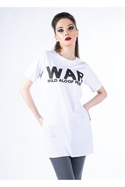 Vision Kadın Beyaz Baskılı Yırtmaçlı Basic T-shirt