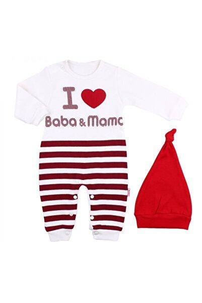 bebegen Bebek Beyaz I Love Baba Mama Baskılı Bereli Çizgili Tulum