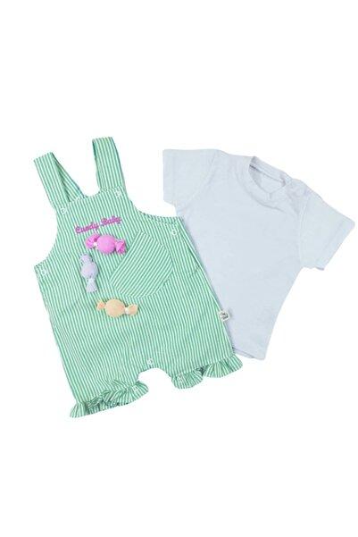 bebegen Unisex Bebek Beyaz Candy Yeşil Çizgili Slopet Tulum