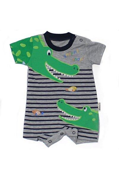 bebegen Erkek Bebek Gri Yeşil Timsah Baskılı Kısa Kollu Tulum