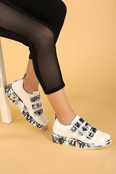 Ayakland Kadın Desenli Günlük Kemerli  Spor Ayakkabı 101