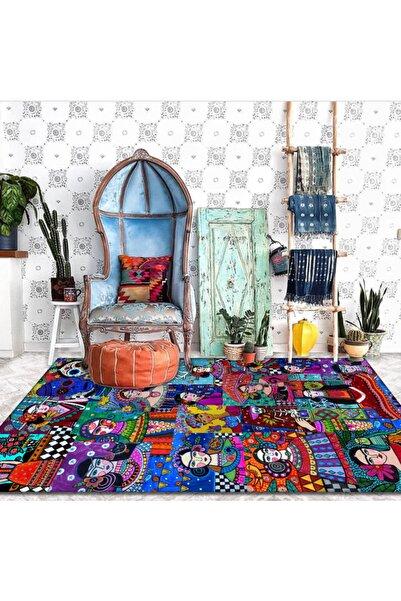 Jungle Kırmızı Frida Kahlo Desenli Sanatsal Halı
