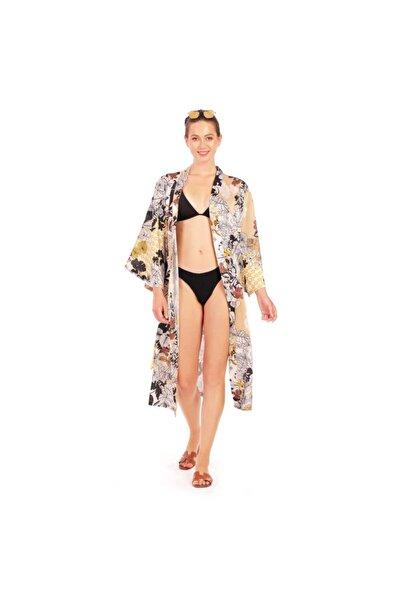 ALİKİ Kadın Bej Renk Cindy Çiçekli Kuşaklı Kimono Plaj Elbisesi