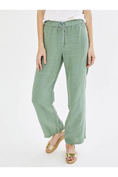 Xint Kadın Yeşil Normal Bel Keten Pantolon