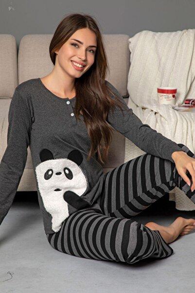 Siyah İnci kadın Pamuklu Likrali Düğmeli Nakışlı Pijama Takım