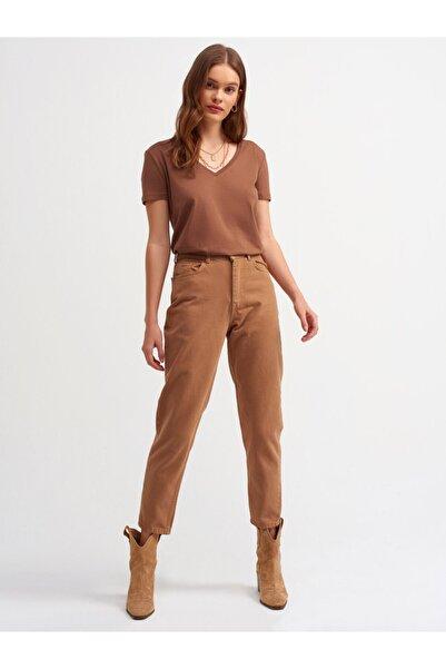 Dilvin Kadın Kahverengi Mom Pantolon 4185