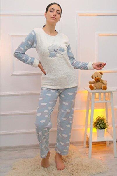 Lukas Kadın Beyaz Polar Peluş Pijama Takımı 1209.1050